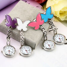 Cute Pendant Butterfly Nurse Clip-on Brooch Quartz Hanging Pocket Watch New  OE