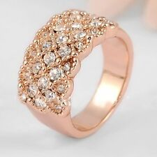 Hot Fashion Women Rose Gold Plated Crystal Bridal Engagement Ring Size 5/6/7/8/9
