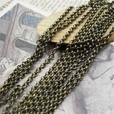 5M Antique Bronze & Silver Charm 2mm Chain Jewelry For Necklace Bracelet P269