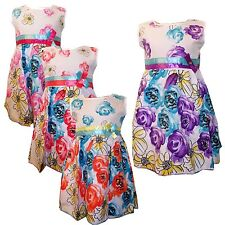 New Girls LOVELY Dress /Summer Party Tunic  Short sleeves Roses Top 3-12yrs #92