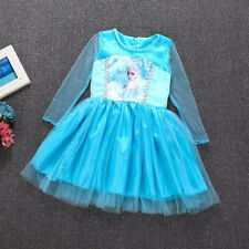 Disney Princess Frozen Queen Elsa Costume Cosplay Tulle Girls Tutu Dresses
