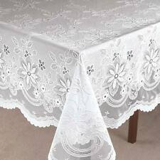 NEW ~ Vinyl Lace Floral Round Oblong Table Cover Cloth