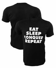 Eat, Sleep, Conquer, Repeat Black Gym T-shirt Conquer Workout Tee