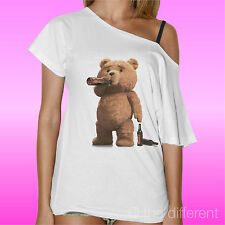 T-SHIRT DONNA COLLO BARCA TED DRINK BEER ORSO BIRRA FILM ROAD TO HAPPINESS