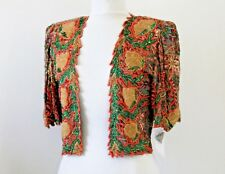 Jasdee Vintage Bolero Jacket Hand Work Bead & Sequins & Hand Print On Silk #3072