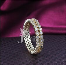 14K Yellow Gold Filled AAA Clear Round CZ Wedding Engagement Girl Band Ring-R497