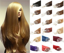 100% Real Remy Human Hair Extensions Loop Micro Ring Bead Tip Straight Hair 18''