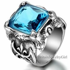Silver Tone Dragon Claw Blue Glass Mens Cool Stainless Steel Band Ring Size 8-13