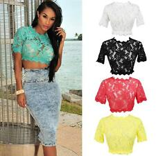 Chic Women's Lace Crochet Embroidery Hollow Short Sleeve Crop Top T-Shirt Blouse