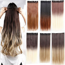 New Clip in Ombre Hair Extensions Synthetic natural as human Dip dye hair style