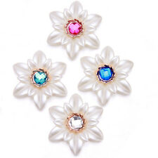 10/50pcs NEW SALE Charms White Acrylic Colorful Rhinestone Flower Spacer Beads L