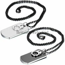 Handcuffs Dog Tag Military Army Style Cool Men's Long Black Chain Necklace 28.7""