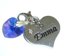 SWAROVSKI Element Crystal HEART NAME Charm EMMA 12 Colours CLIP or BAIL