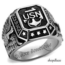 Men's Stainless Steel 316L United States US Navy Military Fashion Ring Size 8-13