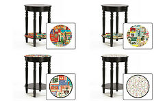 FC180 NEW LABEL POSTER THEMED BLACK FINISH WOODEN END ACCENT TABLE NIGHT STAND