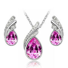 Bridal Crystal Jewelry Set Women Pendant Necklace Earrings Wedding Jewelry Sets