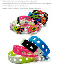 100Pcs 18CM Fashion Silicone Wristbands Bracelets For Kids toy Mixed 14 Colors