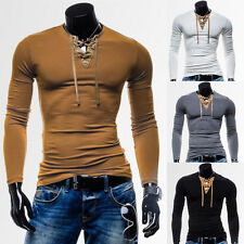 Mens Stylish Tops Slim Fit Casual Fashion T-shirts V Neck Shirt Long Sleeve Tee