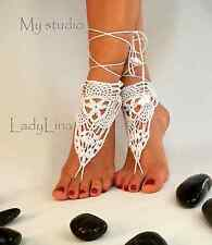 Handmade Crochet Barefoot Sandals, Victorian Lace, Foot jewelry, from EUROPE