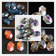 5pcs DIY Home 10 Colors Faceted Polygon Hexagon Glass Crystal Beads 13X18mm