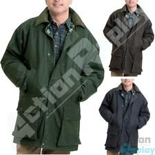 Mens Mens Wax Cotton Check Lined Padded Jacket Hunting Fishing Riding Coat Size