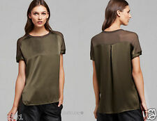 NWT VINCE HUNTER MIXED MEDIA SILK WITH KNIT CONTRAST TEE TOP BLOUSE M & L $225.
