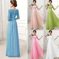 Women Elegant Long Maxi Evening Cocktail Party Prom Lace Sundress Chiffon Dress
