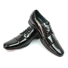 New Men's Tuxedo Black Delli Aldo Shoes Wing Tip Design Lace Up Formal Oxfords