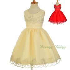 Beaded Embroidery Scalloped Flower Girl Formal Occasion Dresses Size 2-9 FG317
