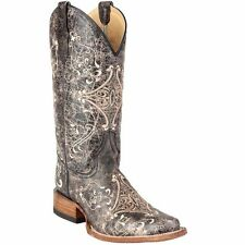 Circle G By Corral Ladies Brown Crackle/Bone Embroidery Boot L5078 New