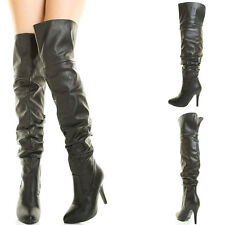 Sexy Black Pointy Toe Slouchy High Stiletto Heel Over The Knee Thigh Womens Boot