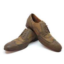 New Men's Brown Ferro Aldo Nubuck Wing Tip Shoes Vintage Design Block Heel NEW