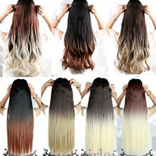 Amazing Two Colors Dip dye Ombre Clip in Hair Extension Real Synthetic Half Head