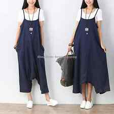 Women Loose Casual Cotton Linen Drop Crotch Harem Pants Jumpsuits Overalls Dress