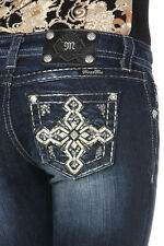 MISS ME JP7137B GEOMETRIC CROSS BOOT CUT JEANS! NWT!!