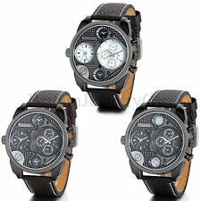 Fashion Military Army Dual Time Zones Movements Leather Sports Quartz Watch Mens