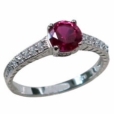CLASSY 1 CT RUBY 925 STERLING SILVER RING SIZE 5-10