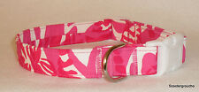"Lilly Pulitzer Capri Pink ""I'm Game"" Fabric  Handcrafted Dog Collar -S/M/L- New"