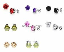6mm Stainless Steel Cubic Zirconia Cute Shiny Round Cut Stud Earrings Unisex