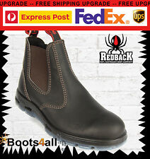 New Redback Work Boots Easy Escape Chelsea Bobcat Dark Brown Leather UBOK