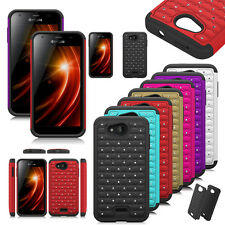 Rugged Hybrid Bling Diamond Hard Rubber Case Cover For Kyocera Hydro Wave/C6740
