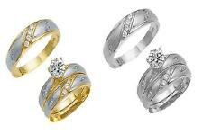 GOLD HIS & HER 14KT SOLID WHITE/YELLOW GOLD TRIO CZ WEDDING RING BAND SET 5-13