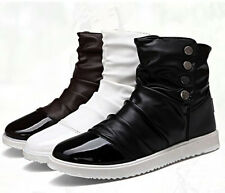 Korean Style Men's Lace Up Flats High-top Casual Shoes Ankle Boots Newest Style