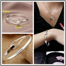 Fashion Lady Silver Plated Flower Bracelet Bangle Charm Cuff Jewelry Gift