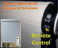 Remote Control Blockout or Sunscreen Motorise Roller Blind, Made to order