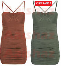 Womens Ladies Key Hole Front Ruched Slinky Bodycon Party Dress Uk Size 8-14