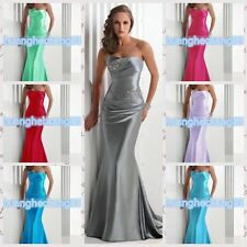 Women Long Satin Prom Dress Cocktail Party Ball Gown Evening Bridesmaid Dress
