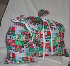 Christmas Patchwork Design Homemade Fabric Gift Bag