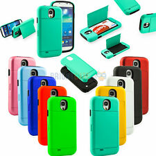 For Samsung Galaxy S4 IV i9500 Hybrid Card Slot hard/Soft Combo Stand Case Cover