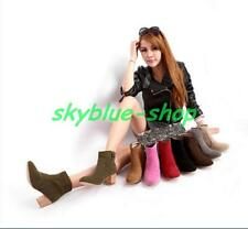 Womens  Faux Suede Pointy Toe Block Mid Heels Pumps Ankle boots shoes Plus Size